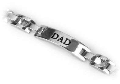 Stainless Steel and Black Enamel DAD ID Bracelet