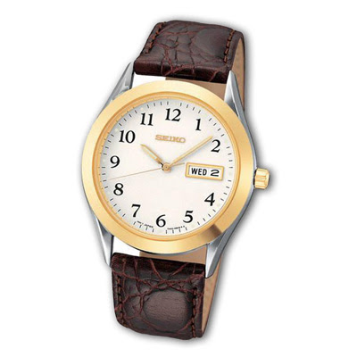 Two Tone Watch with Brown Leather Strap