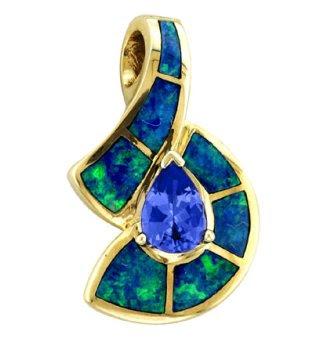 Asher - Gold Opal & Tanzanite Pendant
