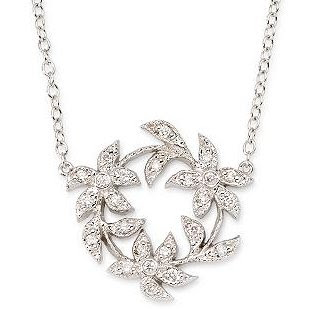 Diamond Flower Necklace In 14k White Gold