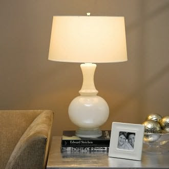 Harriet White Glass Table Lamp