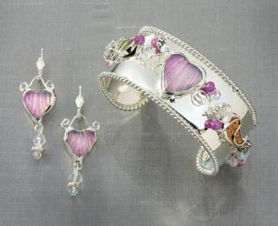 Pink Dichroic Heart Adjustable Cuff Bracelet
