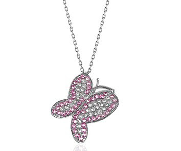 Pink and White Sapphire Butterfly Pendant