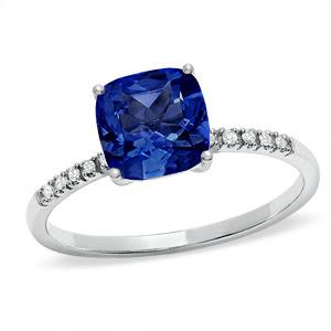 Cushion-Cut Lab-Created Ceylon Sapphire Ring