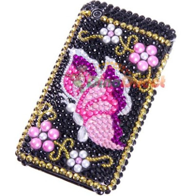 Flying Butterfly Pattern Rhinestone Diamond Hard Plastic Back Skin Case