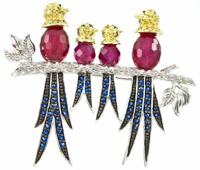 Penka's Synthetic Ruby & Synthetic Sapphire Bird Brooch