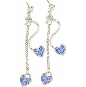 Cute blue hearts twist and dangle drop earrings