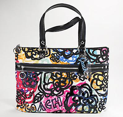 Poppy graphic blossom glam tote