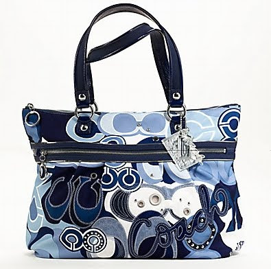 Poppy pop c denim applique glam tote