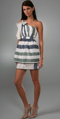 Stripe One Shoulder Dress