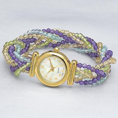 Goldplated Multi Gemstone Quartz Watch