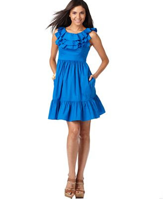 Maggy London Dress, Sleeveless Tiered Ruffled Neckline