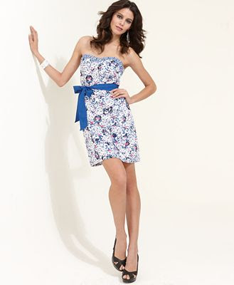 Kensie Dress, Strapless Monet Floral