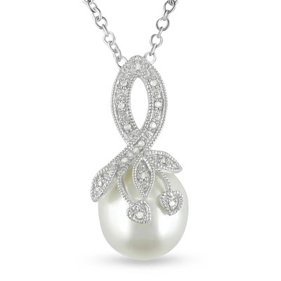 Cultured Freshwater Rice Pearl and Diamond Pendant