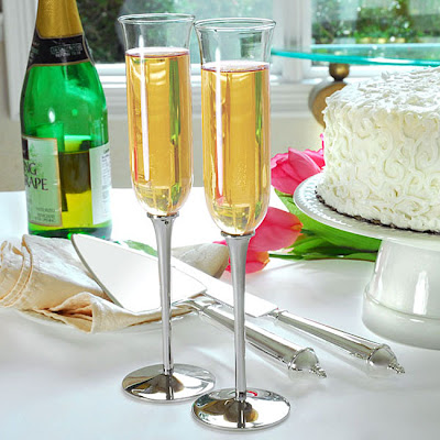 Cathy's Concepts Champagne Flutes and Cake Server Set