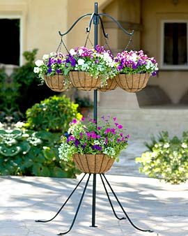 Four-Arm Plant Hanger with Center Basket