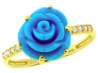 Yellow Gold Medium Turquoise Flower and Diamond Ring