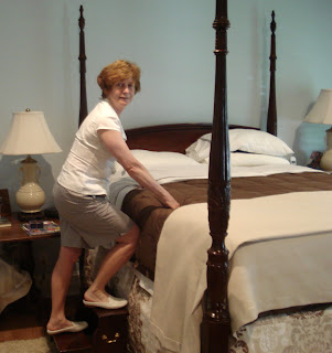 Trish tries to get into bed