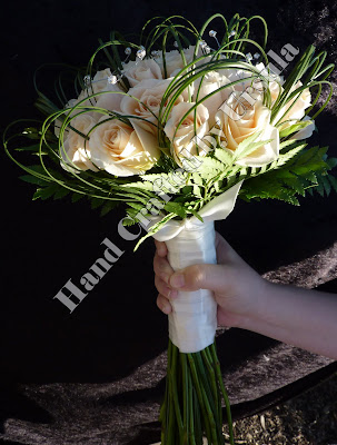 Cream Roses With Spear Grass Bouquet - side View