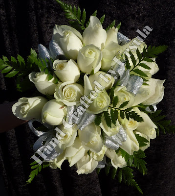 White Roses With Silver Ribbon Bouquet