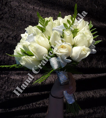 White Roses With Silver Ribbon Bouquet Side View