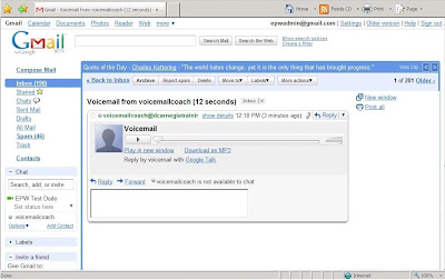 Getting a voicemail in Gmail from Google Talk.