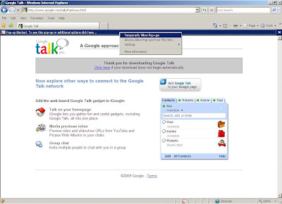 Google Talk download and installation.
