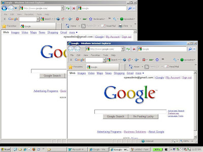 Starting a new IE8 browser automatically logs in to your Google account already opened.