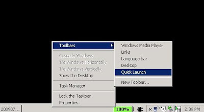 Turning on the Quick Launch toolbar