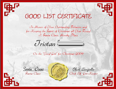 Good List Certificate From Father Christmas Free Printable Template ...