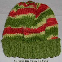 knit cap in variegated yarn with solid brim
