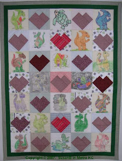 crayon quilt with dinosaurs and space aliens