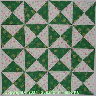 Easy X quilt with frog fabric