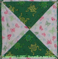 Easy X quilt block with frog fabric