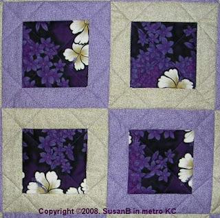 detail of framed squares quilt
