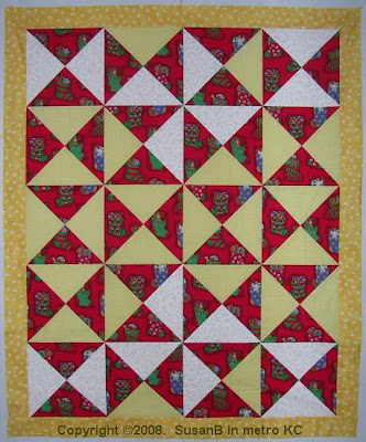Easy X quilt top with pinwheels
