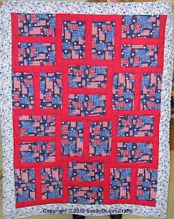 patriotic Happy Block quilt top