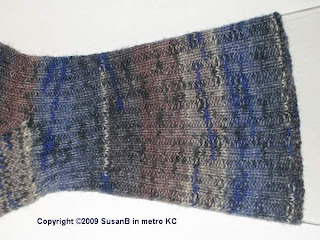leg of ribbed sock