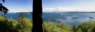Panoramic photo of Puget Sound taken from Vashon Island, Washington state