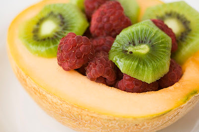 Melon, Raspberries and Kiwi
