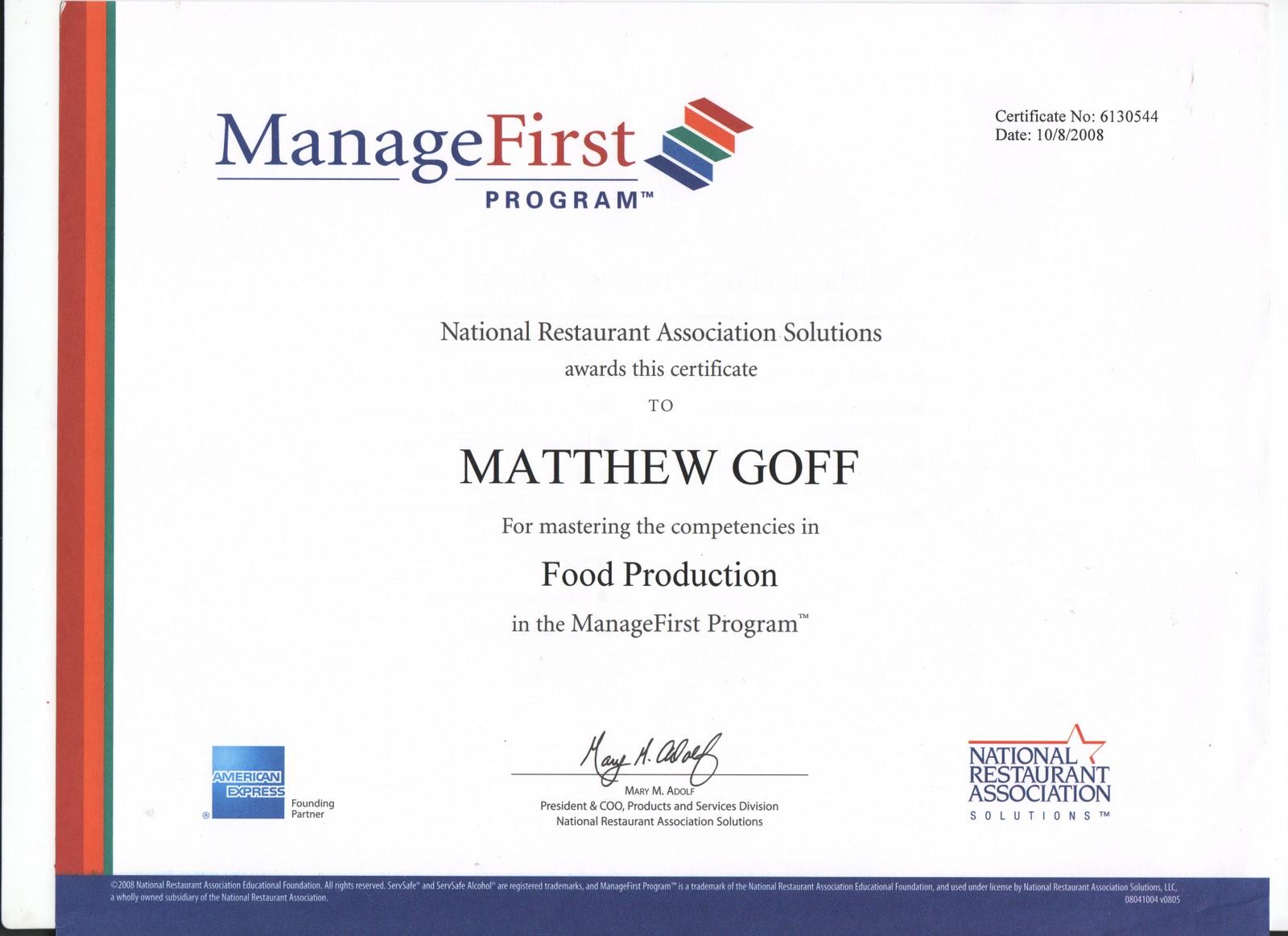 Matthew Goffs Portfolio Certifications And Scholarships