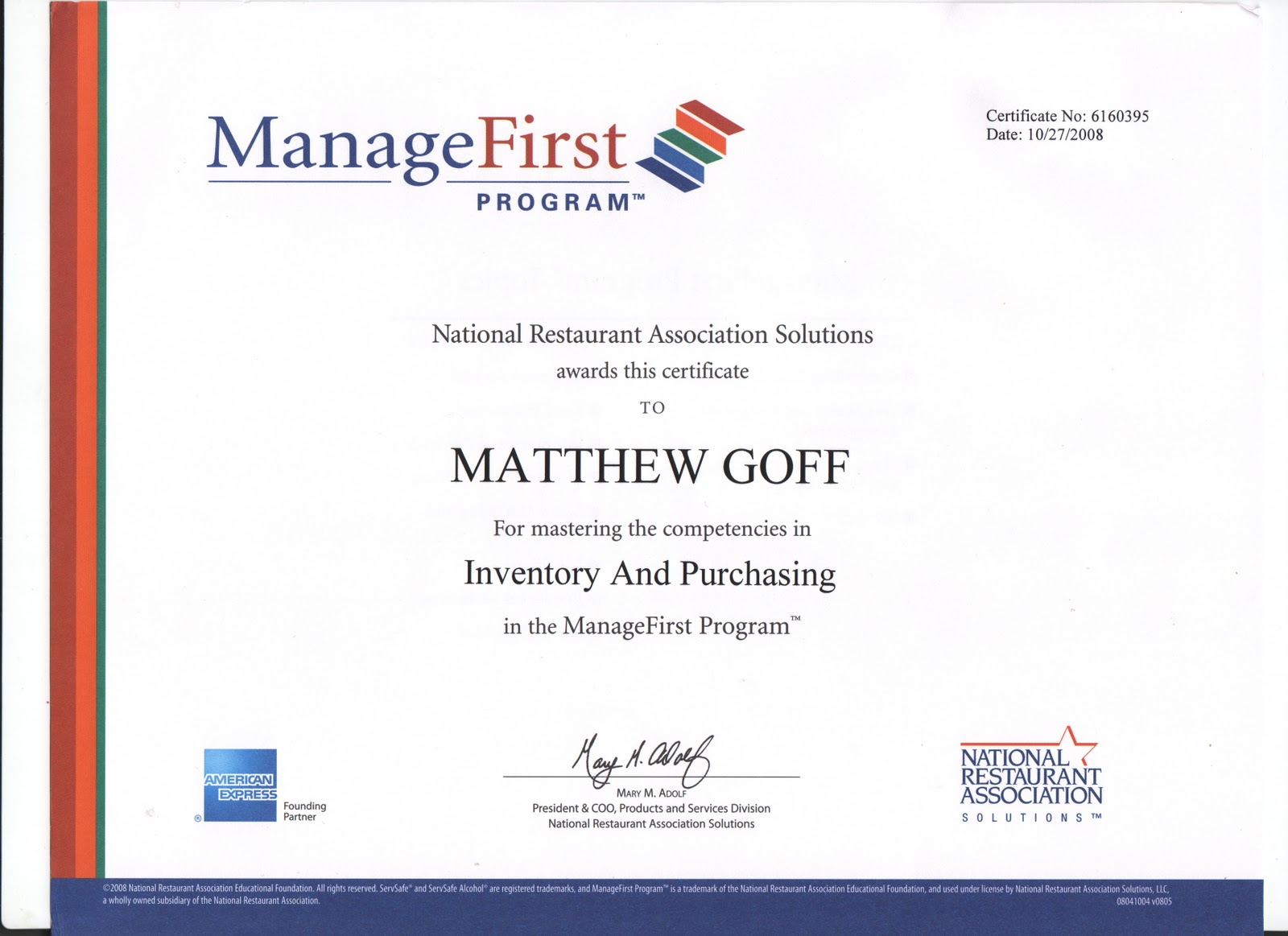 Matthew Goff S Portfolio Certifications And Scholarships