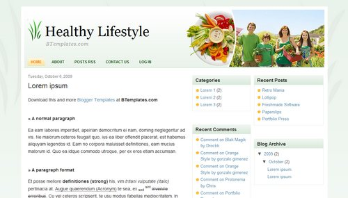 Healthy Lifestyle Blogger Template