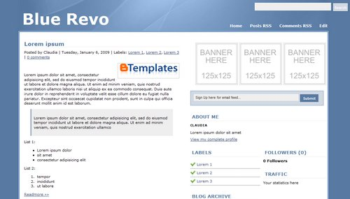 BlueRevo Blogger Template