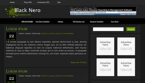 Black Nero Blogger Template