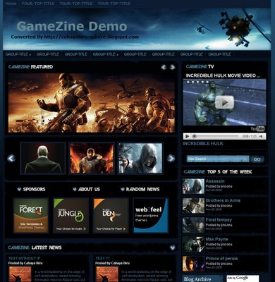 Gamezine Blogger Template