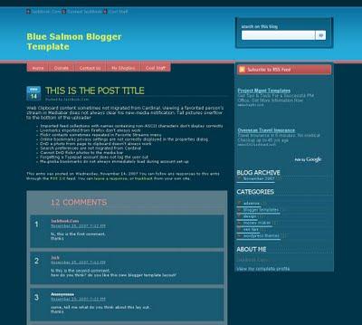 Blue Salmon Blogger Template
