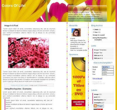 The Colors of Life Blogger Theme