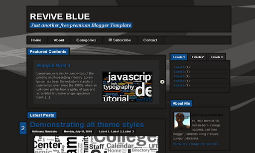 Revive Blue Blogger Template