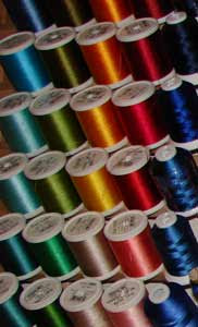 Close up of some pretty rayon embroidery threads